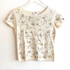 TALBOTS 100% Merino Wool Beaded Embroidered Top XS